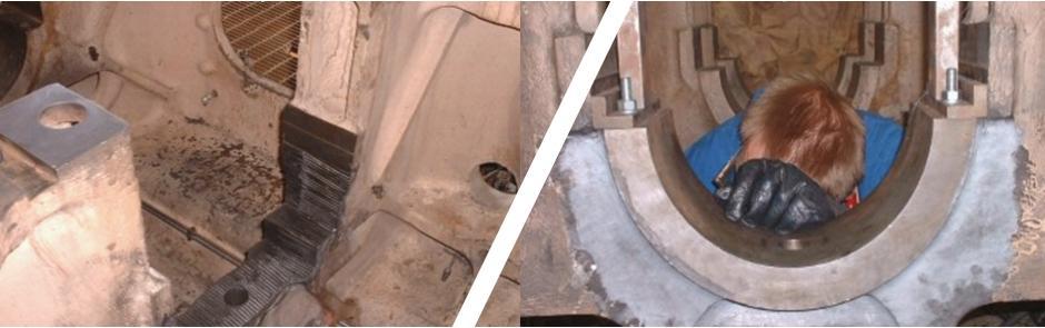 On site stitching of diesel engine main bearing pocket