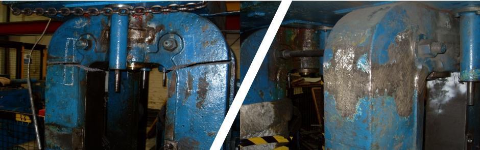 Cast iron repair to press housing